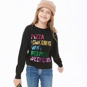 🦄 🍕 Forever 21 Girl's Comfy Sequin Pullover